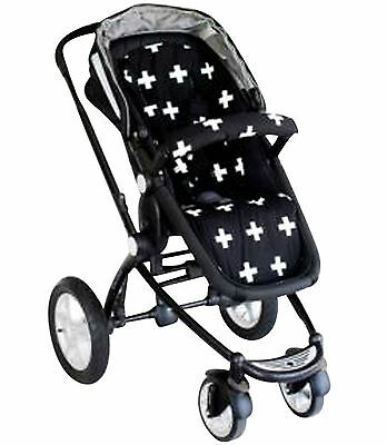Bambella Pram Liner + Strap Covers Universal Fit BLACK CROSS