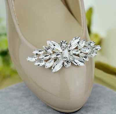 Women Fashion Silver Tone Rhinestone Crystal Wedding Bridal Shoe Clips Pair
