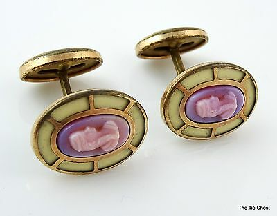 Antique Cufflinks Purple Carved Woman Cameo