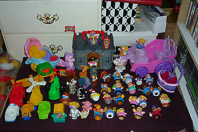 Fisher-Price Little People 45p Lot Mermaid & Royal Carriage People Dragon Caslte