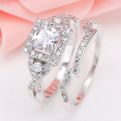 925 Sterling Silver Princess Cut White Sapphire &Topaz Women Wedding Ring Set