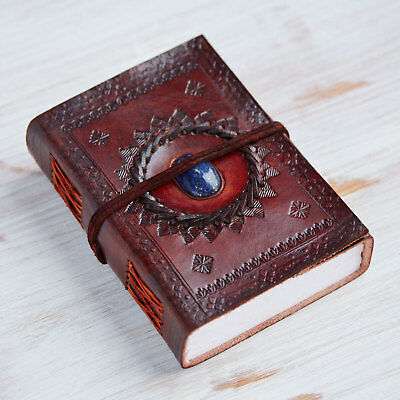 Indra Fair Trade Handmade Medium Embossed Stoned Leather Journal 2nd Quality
