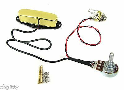 Gold Enclosed Single Coil Pickup Pre-wired Harness with Volume Control & Jack