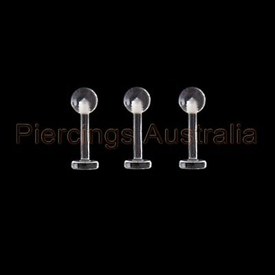 3 x 14G 8mm Clear Ball Labret Monroe Lip Bar Retainers Body Piercing Jewellery