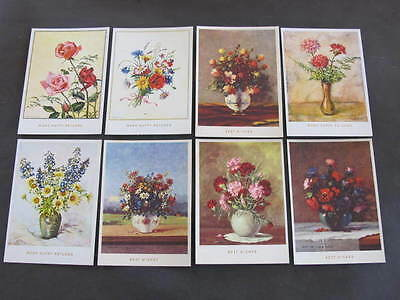 17 older Artist Drawn Postcards Vases of Flowers all unused