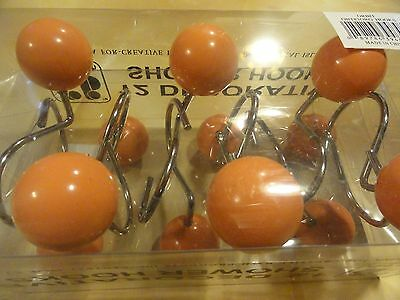 12 piece Large Round  SHOWER CURTAIN HOOKS~Peach Orange Apricot BALL