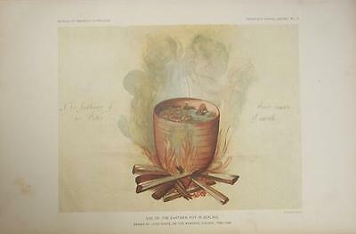 Antique 19th Century Native American Indian Print USE OF EARTHEN POT IN BOILING