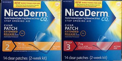 NEW NICODERM CQ Step 2 & 3 4 Week 28 Nicotine Patches STOP SMOKING AID Ex 12/17