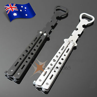 Balisong Stainless Butterfly Knife Bottle Opener Training Practice Folding Tool