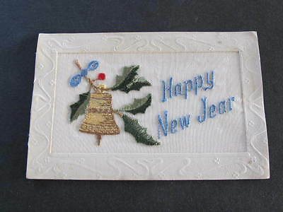 Happy New Year WW1 Silk Embroidered Postcard