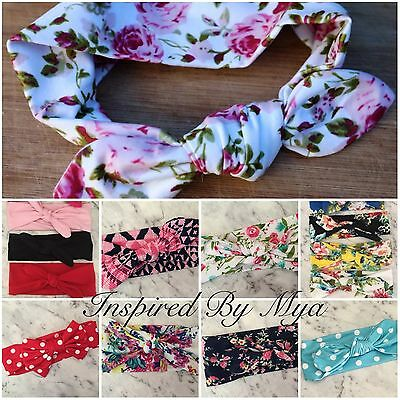 84 COLOURS Girl Baby Toddler Headband Top Knot Hair Bow Band Turban Gold Floral