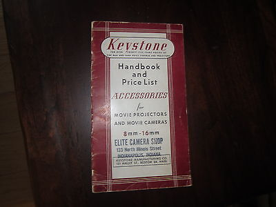 KEYSTONE HANDBOOK AND PRICE LIST -accessories for 8mm and 16mm, Original (1949 )