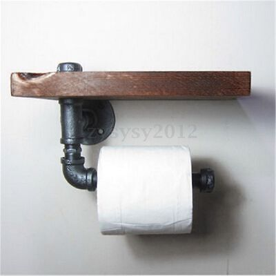 Industrial Style Iron Pipe Paper Toilet Holder Roller With Wood Shelf