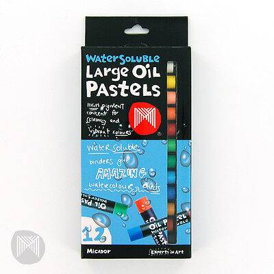 Micador Water Soluble Large Oil Pastels - 12 Pack **new In Box**