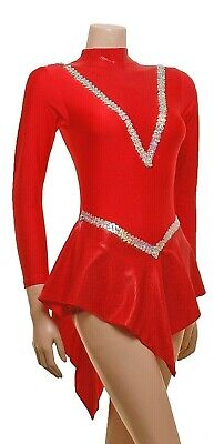Ladies Red Lycra Polo Dress with Red Hologram Skirt  - Sizes ladies 10 *SALE*