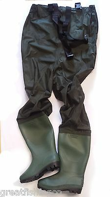 Nylon Chest Waders - Sizes 7 8 9 10 Waterproof Fly Coarse Sea Fishing