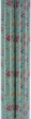 6m Female Gift Wrapping Paper - 2 x 3m Roll's - Green with Vintage Ditsy Flowers