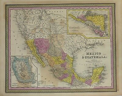 1850 Hand Colored Mitchell Atlas Map MEXICO & GUATAMALA MAP  13x17""