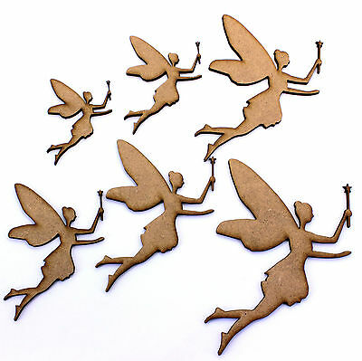 Fairy with Wand Craft Shapes. Various Sizes 50mm - 200mm. 2mm MDF Wood Laser Cut