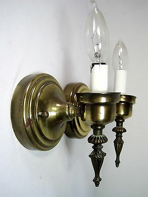 Vintage Pair Brass Tone Wall Sconce Light Fixtures Thomas Industries 9.5""