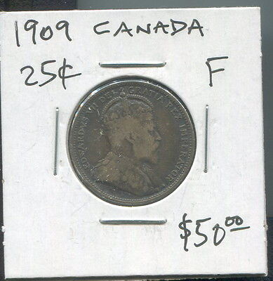 Canada - Beautiful Edward Vii Silver 25 Cents, 1909