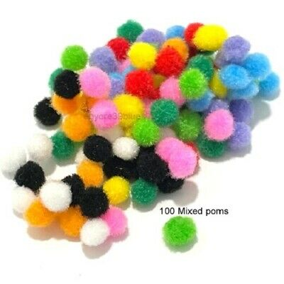 Pom Poms 6mm Hobby/Craft 10 Decorative Colours Christmas Children School project