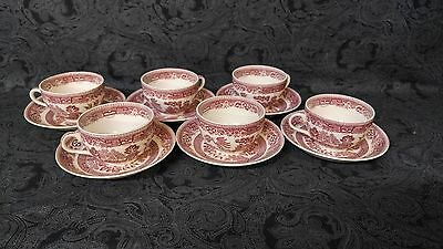 Alfred Meakin Old Willow Cup & Saucer Set Red Birds Trees Made In England