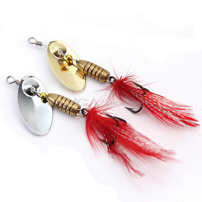 5x Spoon Metal Feather Fishing Lures Spinner Baits CrankBait Bass Tackle Hooks