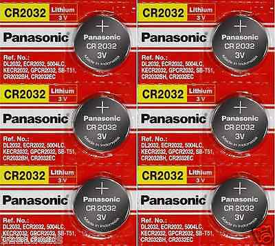 6 x SUPER FRESH Panasonic ECR2032 CR2032 Lithium Battery 3V Coin Cell Exp. 2028
