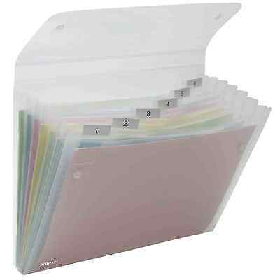 Rexel Ice Expanding File Organiser A4 tabbed pockets clear Durable Polypropylene