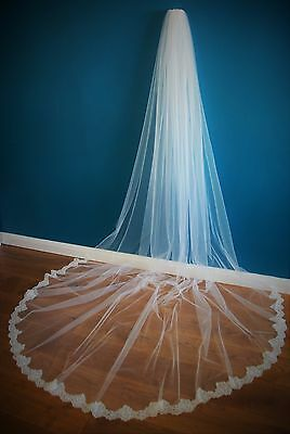 Bridal Veil *1 Tier*3M Wide*Cathedral Length*Off White/Ivory*Wide corded Lace *
