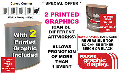 Quality Pop Up  Exhibition Curved Counter Podium Inc 2 Printed Graphics