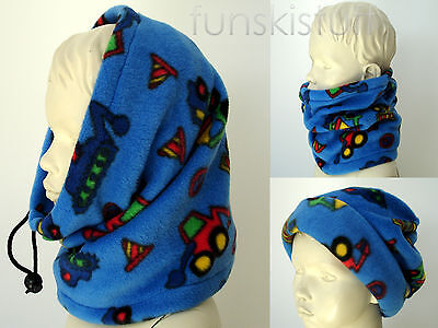Kids boys TRUCK tractor digger SNOOD BLUE neck warmer balaclava scarf hat school