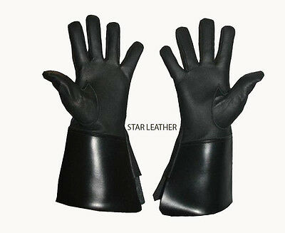 New Real Leather Black, White Piper Drummer Leather Gauntlets / Gloves- S,m,l,xl