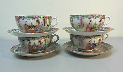 Set/4 Antique Chinese Export Rose Medallion Eggshell Porcelain Cups & Saucers