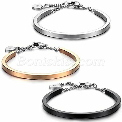 Ladies Women's Anti-Fatigue Stainless Steel Heart Charm Bangle Bracelet For Gift