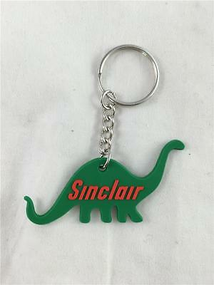 "NEW Sinclair Gas Dinosaur Rubber Keychain Green/Red 2 1/2"" x 1"" Dino Free Ship"