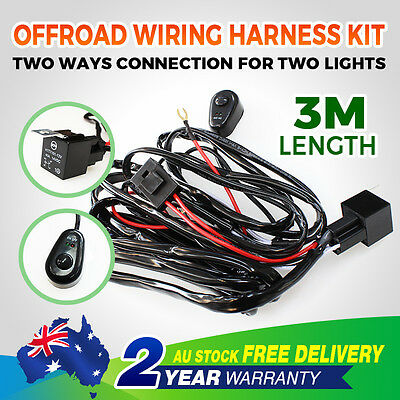 Led Offroad 3M Wiring Loom Harness Relay Fuse Switch Kit 12V 40A Bar Work Light
