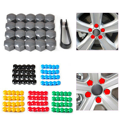 20x 17mm Wheel Lug Nut Bolt Cover Cap + Removal Tool for VW Golf Audi 321601173A