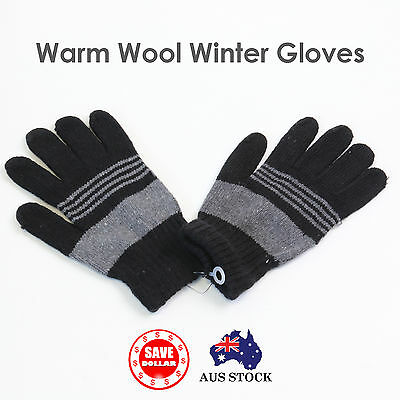 SHEEP WOOL MEN GLOVES Winter Snow Ski Plain Knit Warm Thermal Colour