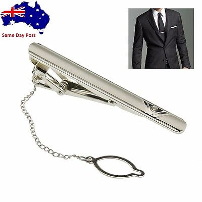New Simple Necktie Tie Clasp Clip Gentleman Metal Silver Tone  Fashion