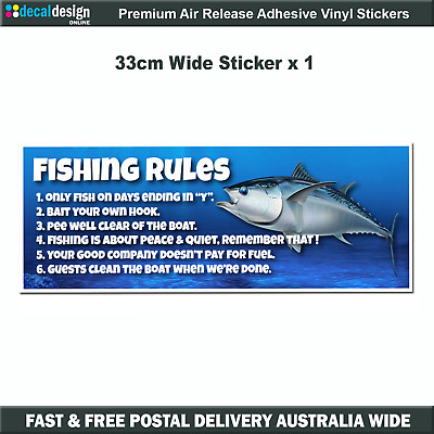 Fishing Rules Decal for boat graphics tacklebox humerous bumper sticker #F021