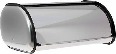 Bread Bin Storage Box Kitchen Brushed Stainless Steel Rolltop 2 Loaf Size