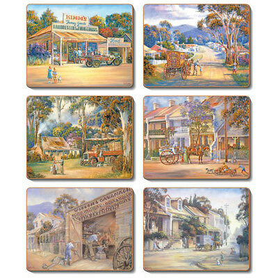 Towns - J Bradley - Set of 6 Placemats and Coasters  Australian Cork Back