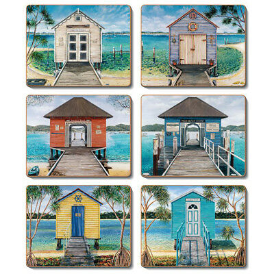 Boathouses - Set of 6 Placemats and Coasters - Cork Back Beach