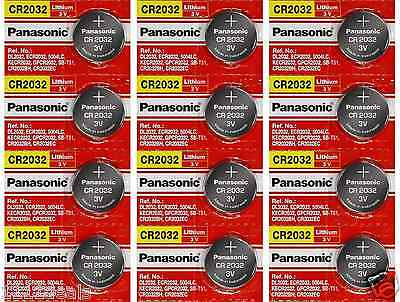 12 x SUPER FRESH Panasonic ECR2032 CR2032 Lithium Battery 3V Coin Cell Exp. 2028
