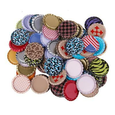 "100 Flat Flattened Linerless 1"" Metal Bottle Caps Crown No Liner Mixed Color"