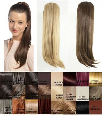 """New Womens Tulip Straight Clip In Ponytail 24"""" Uk Seller Hair Extension B8968"""