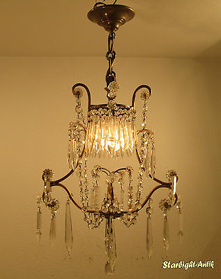 Adorable French Art Nouveau Chandelier 1920 - Crystal Hangings