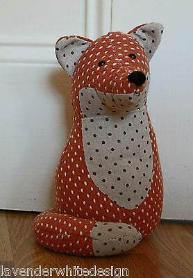 Lovely Funky Polka Dot Weighted Fox Doorstop - In Cream and Orange